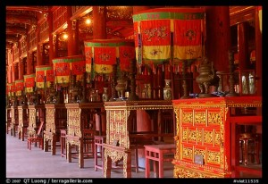 Interior of Hall of the Mandarins, Hue citadel. Hue, Vietnam